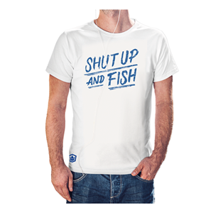 T-shirt shut up hvit str L and fish gavetilhan