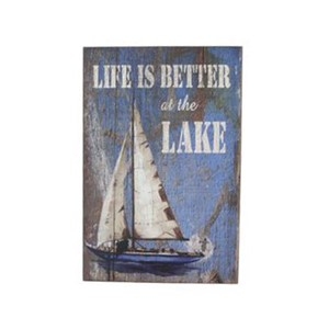 Bilde i drivved life is better 45x30cm maritim